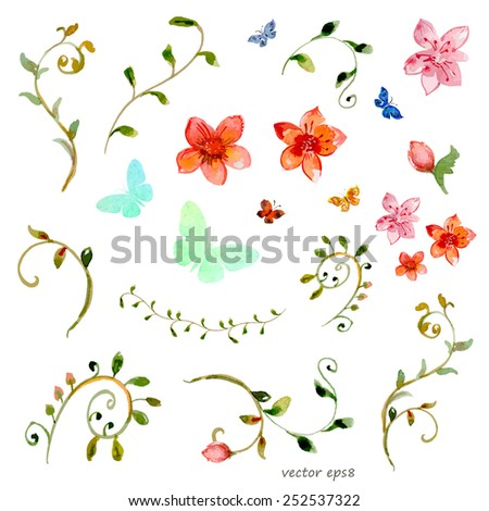 foliate elements. watercolor painting - stock vector