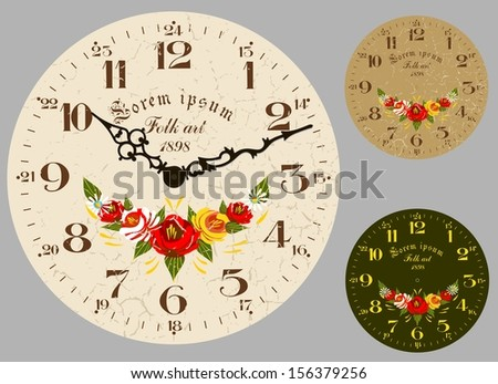 Folk Art. Antique wall clock, set the dial and hands. Stylized hand-painted oil.  - stock vector