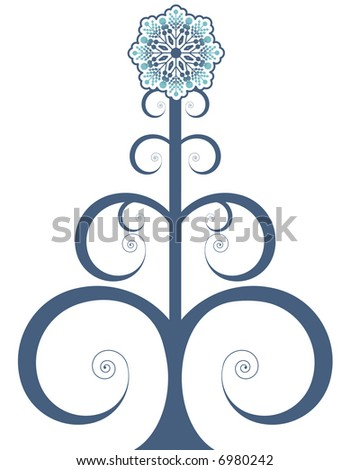 folk art funky tree - stock vector