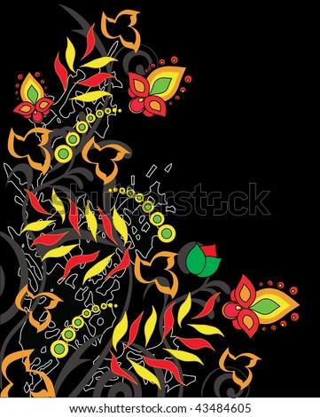 folk pattern on a black background - stock vector