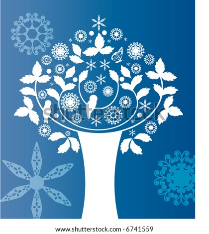 folkart tree summer or winter - stock vector