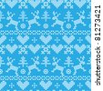 Folklore seamless pattern on blue background - stock vector