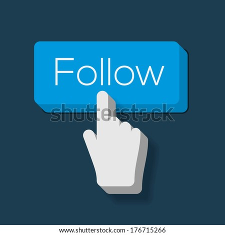 Follow Me Button with Hand Shaped Cursor, vector image.  - stock vector