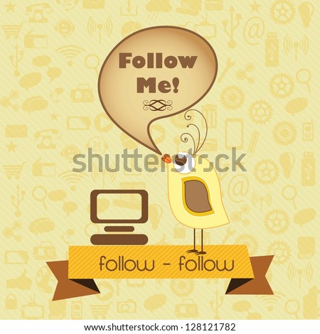 Follow Me, Icon with little bird and retro colors. Vector illustration