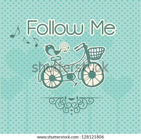 Follow Me, label with bird and bicycle. Vector illustration - stock vector