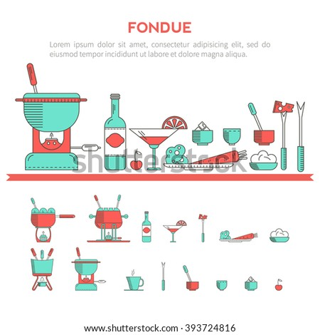Fondue Party Vector Icon Set Trendy Vector 393724822 – Fondue Party Invitations