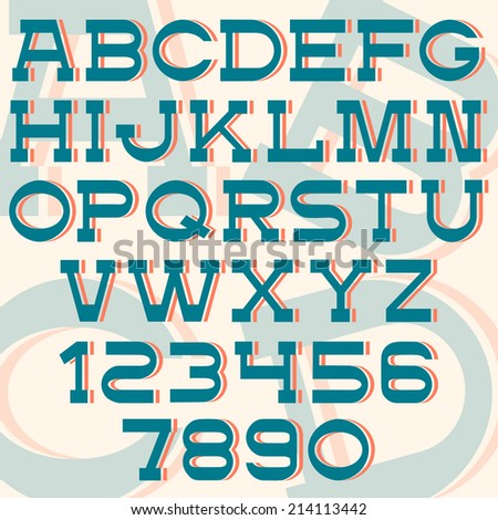 Font and numbers - retro style. Vector set - stock vector