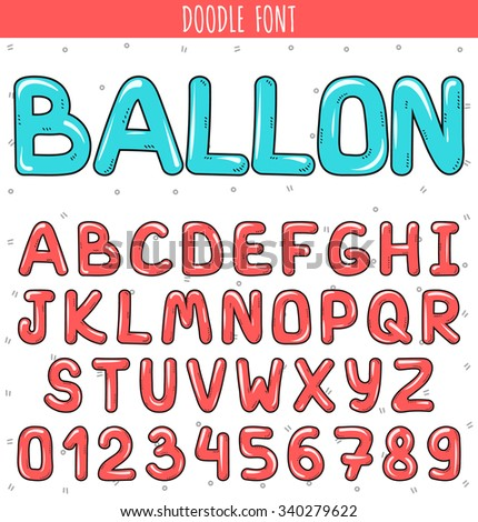 Font ballon. Cartoon font. Set volume of letters and numbers in the doodle. Letters drawn by hand. Children's font.  Beautiful color sketch cartoon set of letters. Pink stylish Font  - stock vector