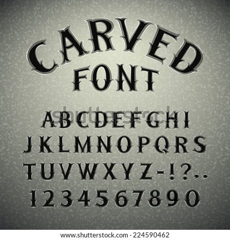 Font Carved in Stone. In the EPS file, each element is grouped separately. - stock vector