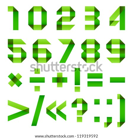 Font folded from paper - Arabic numerals, green.  Arabic numerals (0, 1, 2, 3, 4, 5, 6, 7, 8, 9). - stock vector