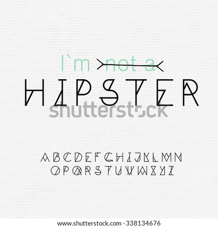 Font for hipsters and seamless paper texture in one - stock vector