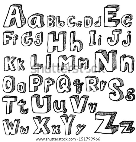 font freehand vector - stock vector