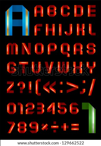 Font from tape colored the paper - Set letters and numbers. (A, B, C, D, E, F, G, H, I, J, K, L, M, N, O, P, Q, R, S, T, U, V, W, X, Y, Z, 0, 1, 2, 3, 4, 5, 6, 7, 8, 9). - stock vector