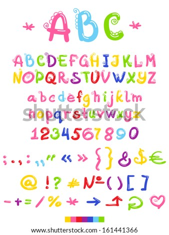 Font, letters and numbers with decoration