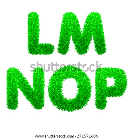 Font. Letters of green grass. Vector  eps 10. - stock vector