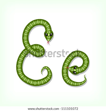 Font made from green snake. Letter E - stock vector