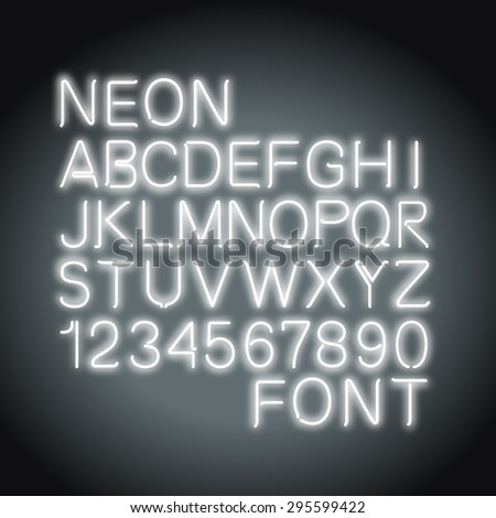 font neon light alphabet numbers in vector format - stock vector
