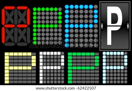 Font Set 4 Digital Display Letter P - stock vector