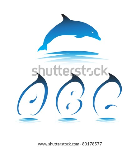 Font the Dolphin. Letters A, B, C vector