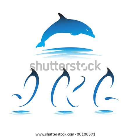 Font the Dolphin. Letters J, K, L vector - stock vector