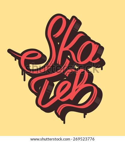 Font vector composition on the topic skate, skateboarding. - stock vector