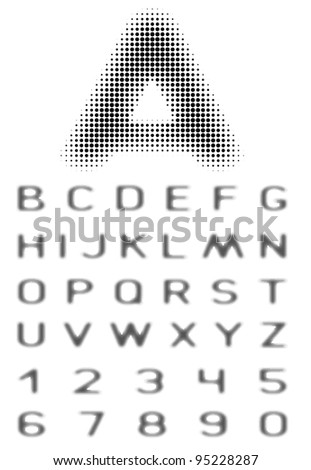 Font with effect halftone - stock vector