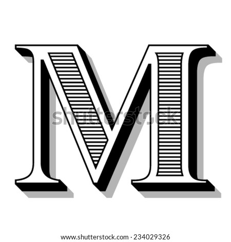 Font with lines. - stock vector