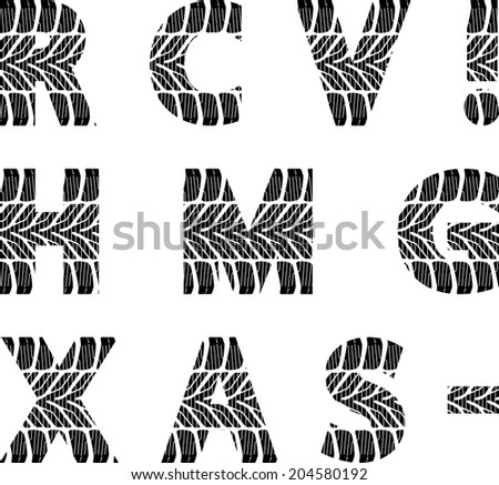 font with tire track - stock vector