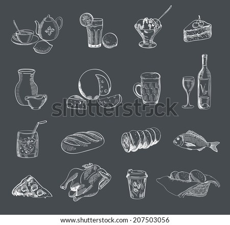 food alcohol drinks fast food vector sketch - stock vector