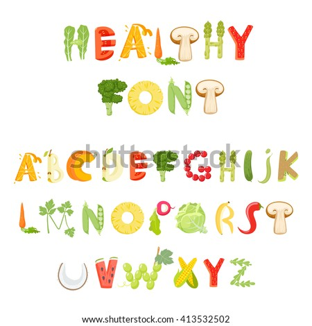 Fruit letters stock photos royalty free images vectors for Cuisine font