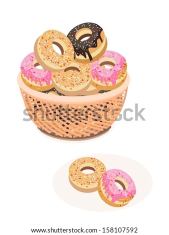 Food and Bakery, An Illustration Stack of Delicious Sweet Donuts with Chocolate, Strawberry and Vanilla Toppings in A Wicker Basket  - stock vector