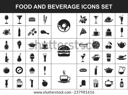 food and beverage black flat icons set - stock vector