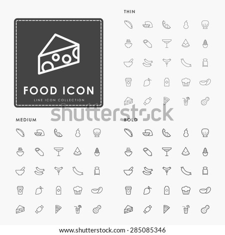 food and beverage on thin, medium and bold line icon concept - stock vector