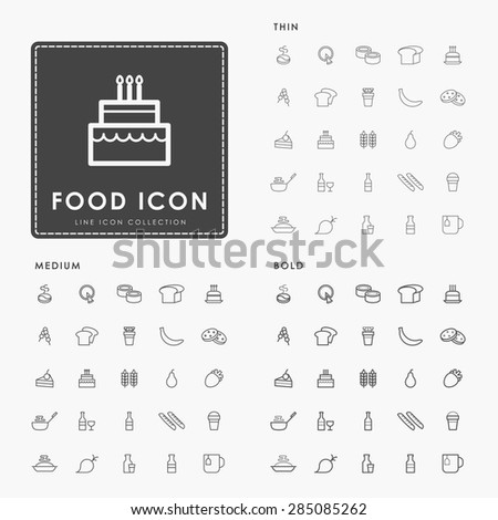 food and beverage on thin, medium and bold minimal outline icons concept - stock vector