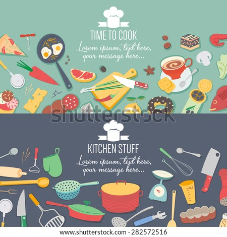 Food and cooking banner set with kitchenware utensils - stock vector
