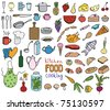 Food and cooking color icons vector collection - stock photo