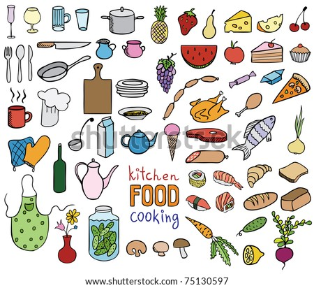 Food and cooking color icons vector collection - stock vector