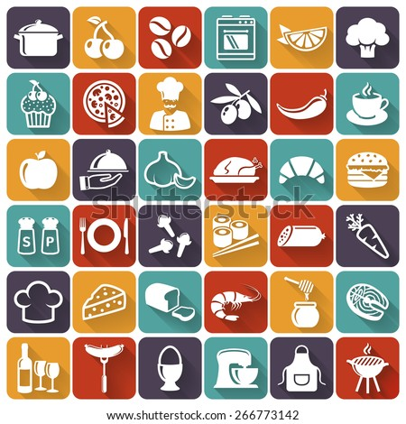 Food and cooking flat icons. Set of white symbols for a culinary theme. Healthy and junk food, fruit and vegetables, spices, cooking utensils and more. Vector collection of silhouette design elements. - stock vector