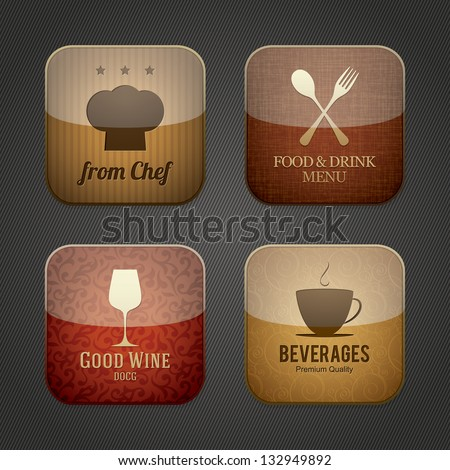 Food and drink application icons, restaurant theme - stock vector