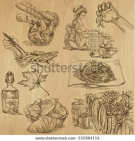 Food and drink around the World (part 1). Collection of hand drawn illustrations (originals, no tracing). Description: Each drawing comprise of two layers of outlines, colored background is isolated. - stock vector