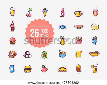 Food and drink colorful outline icons in flat style