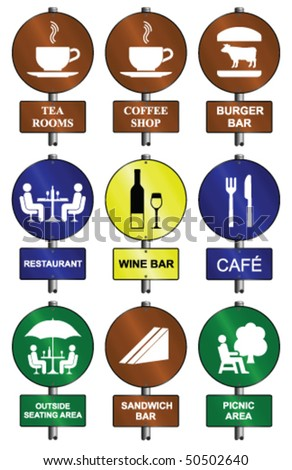 Food and drink graphic and text sign collection mounted on post - stock vector