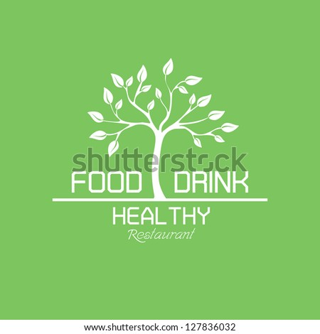 Food and Drink Healthy Restaurant labels - stock vector