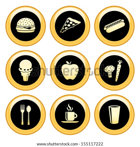 Food and Drink Icons Gold Icon Set - stock vector
