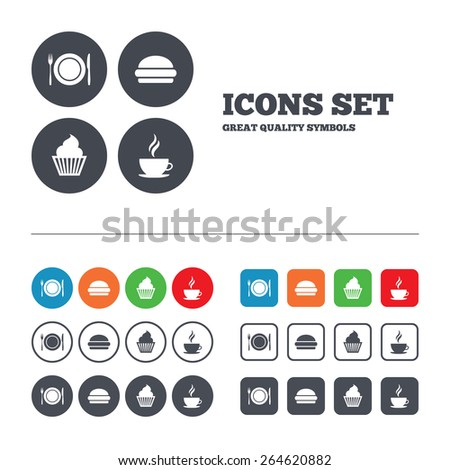 Food and drink icons. Muffin cupcake symbol. Plate dish with fork and knife sign. Hot coffee cup and hamburger. Web buttons set. Circles and squares templates. Vector - stock vector