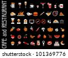 food and drink icons set for black background - stock vector
