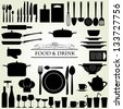 Food and Drink kitchen utensils isolated - vector - stock photo