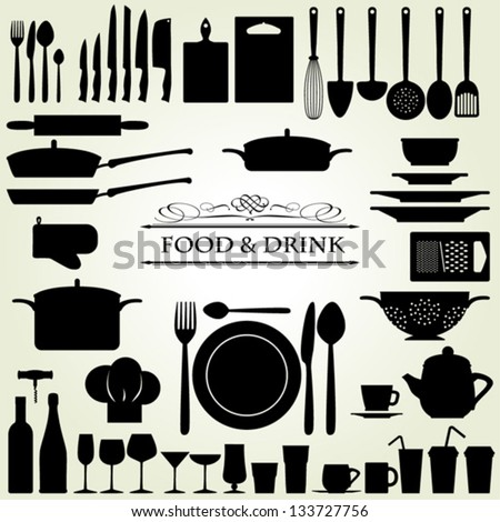 Food and Drink kitchen utensils isolated - vector - stock vector