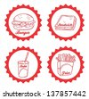 food and drink label red - stock vector