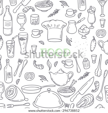 Food and drink outline doodle background. Hand drawn kitchen design elements. Vector illustration - stock vector